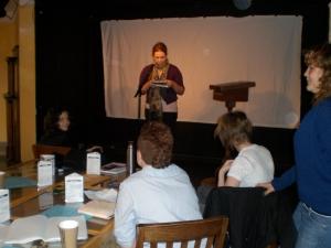 Melinda during performance workshopping