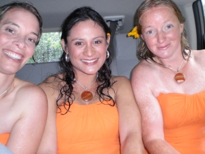 soaking wet bridesmaids after sprint to the car